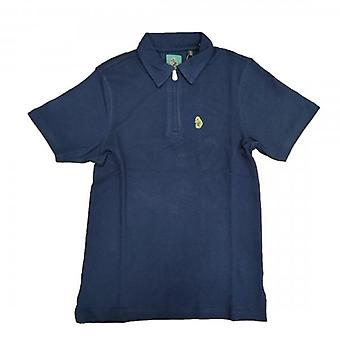 Luke 1977 Luke Royal Palm Logo Textured Polo T-Shirt Navy