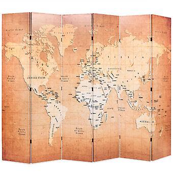 vidaXL diviseur d'espace 228 x 170 cm carte du monde jaune