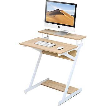 Computertisch mit Tastatur Holz Weiß und Eiche Z-förmiger Schreibtisch Arbeitsplatz für Haus Büro