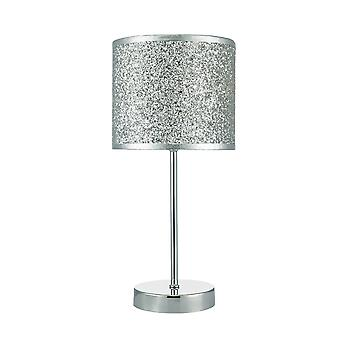 Touch Table Lamp Polished Chrome with Silver Glitter Round Drum Shade