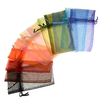 Organza Drawstring Gift Bags, Mixed Colors 3x4 Inches, 12 Pieces