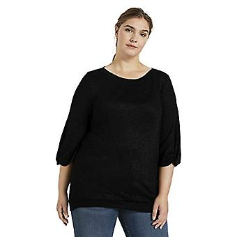 TOM TAILOR MY TRUE ME Ballon T-Shirt, 14482-Deep Black, 50 Woman