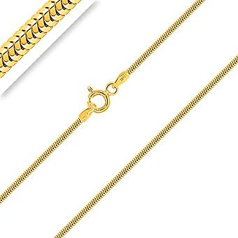 PLANETYS - 925/1000 silver snake knitted chain, 18-carat yellow gold plated, width 1.2 mm, 40-45-50-55-60-65-70 Ref. 3701049592323
