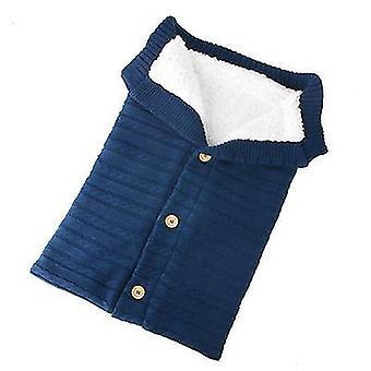 Dark blue baby kids toddler thick knit soft warm blanket swaddle sleeping bag x4580