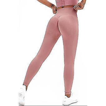 S vaaleanpunainen korkea vyötärö jooga housut power venyttää leggingsit joogajuoksuun ja erilaista kuntoa x2327