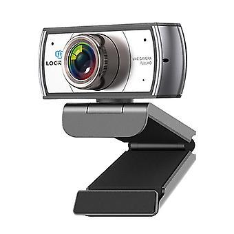 Webkamera med stativ, 120 graders vidvinkel webkamera, live streaming full HD 1080P kamera for OBS XSplit Skype Facebook, kompatibel for Mac OS Windows 10/8/7 (sølv)