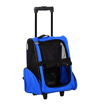 PawHut Pet Travel Backpack Bag Cat Puppy Dog Carrier w/ Trolley and Telescopic Handle Portable Stroller Wheel Luggage Bag (Blue)