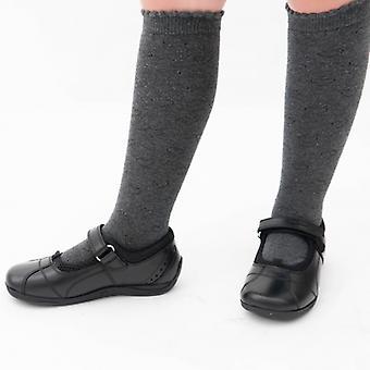 Hush pennut Cindy Jnr tytöt nahka koulu kengät musta