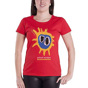 Primal Scream T Shirt Screamadelica Band Logo new Official Womens Skinny Fit Red