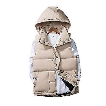 Mænds polstrede vest aftagelig cap efterår ærmeløs polstret jakke (L)