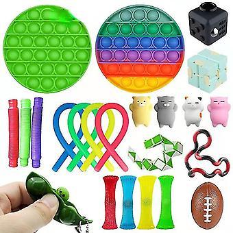 Sensoriska Fidget Leksaker Bunt Dna Stress Relief Balls Med Fidget Hand Toys Rainbow Push pop Toys Stick Ball