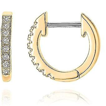 14k Gold Plated Cubic Zirconia Cuff Earrings Huggie Stud(Gold)