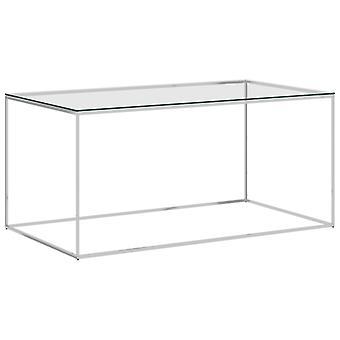 vidaXL table basse argent 90x50x43 cm en acier inoxydable et verre
