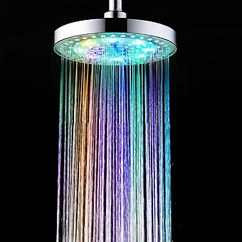 Eight Inches Special Color Top Shower Spray Abs Round Led Colorful Lights
