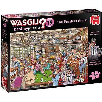 JUM19166 Wasgij Destiny 19-Die Kneipe im Puzzle-Eck-1000 Teile Puzzlespiel