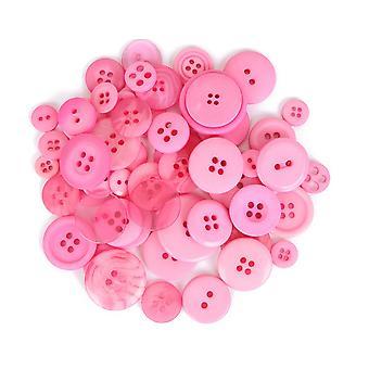 SISTE FÅ - 60g diverse lys rosa knapper for håndverk | Sy scrapbooking kort making
