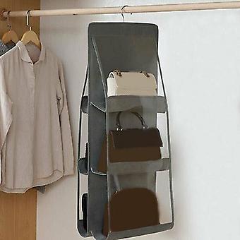 (Grå) 6 lommer hængende håndtaske Arrangør garderobe skabe opbevaringsholder hyldeposer