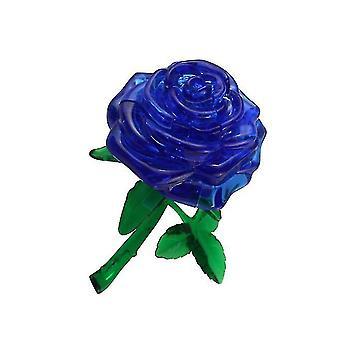 3D samodzielnie zainstalowany blok konstrukcyjny kryształ róży, Diy Puzzle edukacyjne układanki (Niebieski)