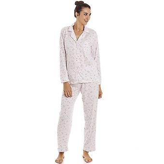 Camille Womens Classic Jersey Long Sleeve Pink Pyjama Set
