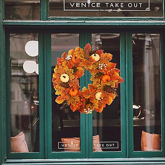 Herbstkranz Haustürkranz mit weißen orangefarbenen Kürbissen