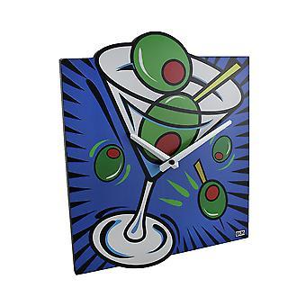 Ярко цветные поп-арт стиль Мартини настенные часы