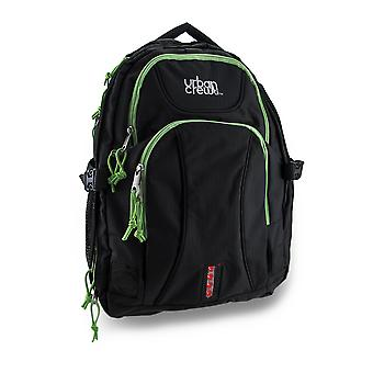 Urban Crew Laptop Backpack Color: Black/Green