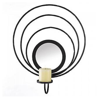 גלריה של עיגולים בהירים במעגלים שחור מתכת קיר פמוט, חבילה של 1