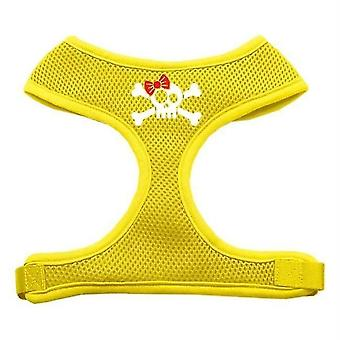 Pet collars harnesses 70-46 xlyw skull bow screen print soft mesh harness yellow extra large