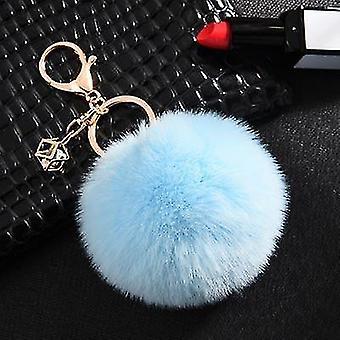 Flauschige und weiche Kaninchen-Pompon-Trinket-Schlüsselanhänger im nordischen Stil (Blau)