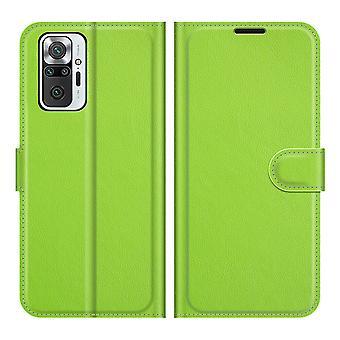 Etui na Xiaomi Redmi Note 10 Pro Litchi Card Case Wallet z poręczną funkcją stojaka zielony