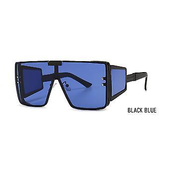 Gafas de sol de una pieza Flat Top Retro Oversized Frame Female Ins Gafas de sol de pierna ancha Macho Negro