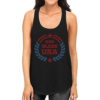 Gud velsigne USA Women 's svart bomull Tank Top Independence Day gaver