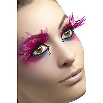 Adhesive contains eyelashes, pink, with plume,