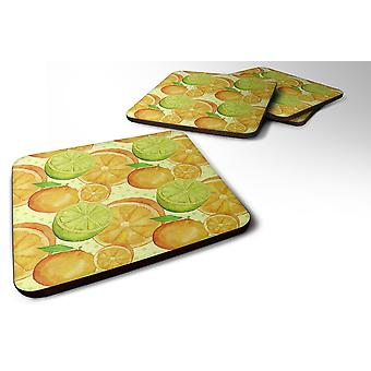 Set of 4 Watercolor Limes and Oranges Citrus Foam Coasters Set of 4