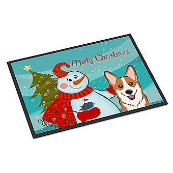 Sneeuwpop met rode Corgi Indoor of Outdoor Mat 24 x 36