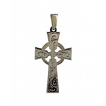 9ct Gold 44x26mm hand engraved Celtic Cross with bail