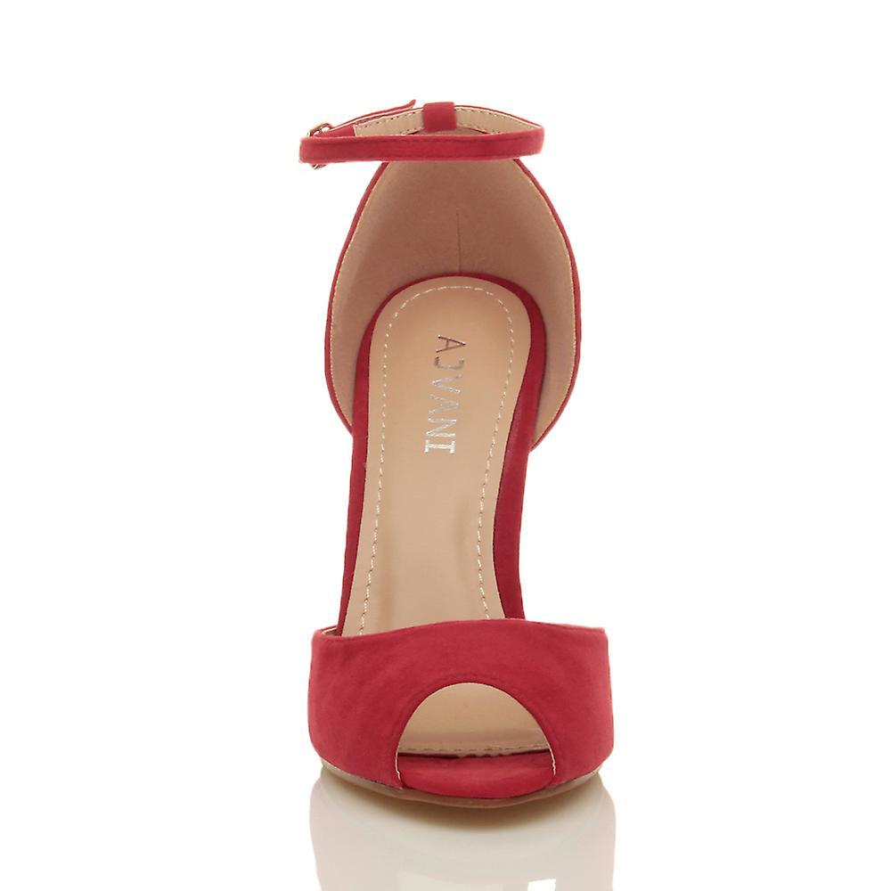 Ajvani womens parti stiletto haut talon cheville sangle boucle sandales peep toe escarpins de soirée 3QoCBr