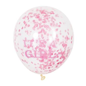 Unique Party Clear 12 Inch Its A Girl Confetti Balloons (Pack of 6)
