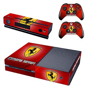 REYTID Console Skin / Sticker + 2 x Controller Decals & Kinect Wrap Compatible with Microsoft Xbox One - Full Set - Ferrari