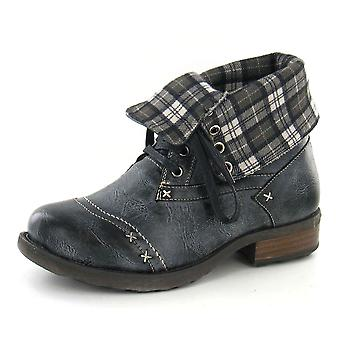 Boys JCDees Ankle Boots / Lace Up / Tartan Turn Collar