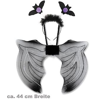Fledermaus-Set Flügel 44cm Haarreif Accessoire Karneval Halloween