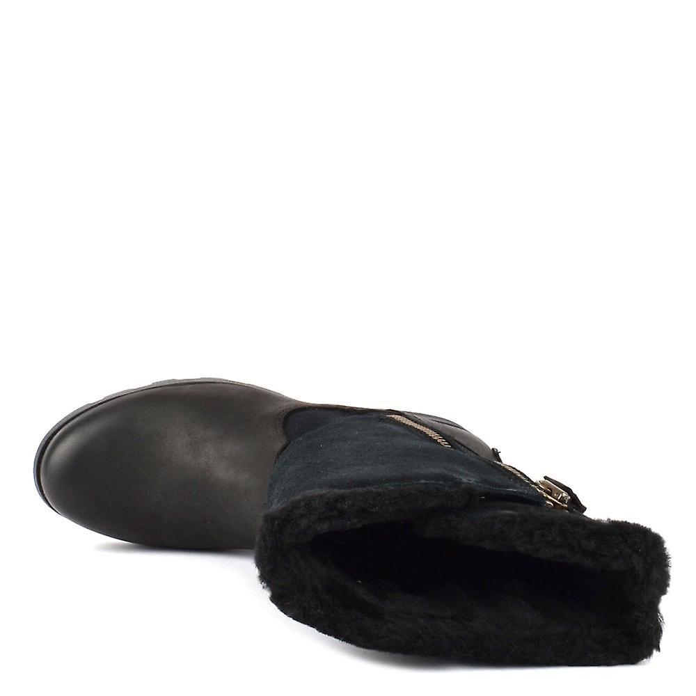 Sorel Emelie Foldover Noir En Cuir Et Suede Boot
