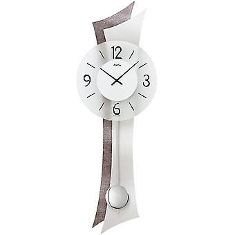 Wall clock wall clock quartz with pendulum wooden rear wall mineral glass aluminium