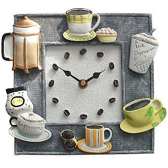 witty and modern kitchen clock coffee time quartz stoneware body
