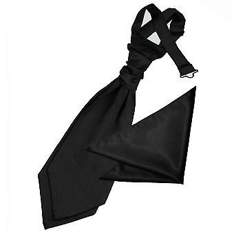 Black Plain Satin Wedding Cravat & Pocket Square Set for Boys