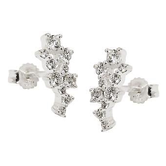 Plug 13x6mm flower with Zircons Silver 925