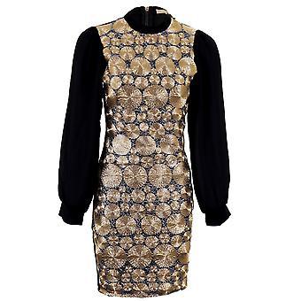 Dames Chiffon mouw goud zwart textuur bedraad gewoon terug Bodycon Womens jurk