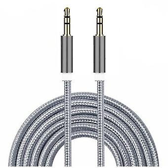 (Sølv) Forgyldt Nylon materiale flettet 3,5 mm Jack til Jack Aux Cable [ 1 METER ] For Wiko View2
