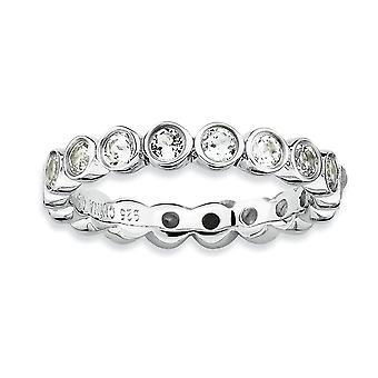 925 Sterling Silver Bezel Polished Patterned Rhodium plated Stackable Expressions White Topaz Ring Jewelry Gifts for Wom