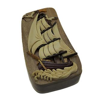 Nautical Sailing Ship Hand Crafted Wooden Trinket/Puzzle Box